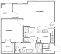 A1 - One Bedroom / One Bath - 709 Sq. Ft.*