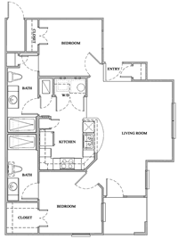 B1 - Two Bedroom / Two Bath - 900 Sq. Ft.*